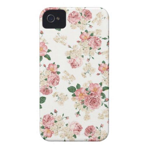 Caisse florale vintage blanche et rose de l'iPhone Coques iPhone 4