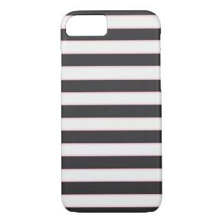 Caisse rayée blanche et rose noire chic de coque iPhone 7