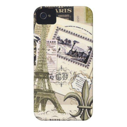 Caisse vintage de Blackberry de collage de Paris… Coques Case-Mate iPhone 4