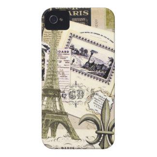 Caisse vintage de Blackberry de collage de Paris… Étuis iPhone 4