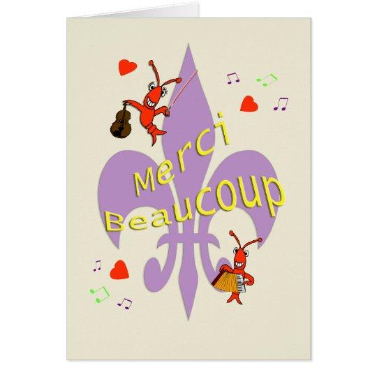 Cajun Lilien-Panzerkrebse danken Ihnen auf Grußkarte