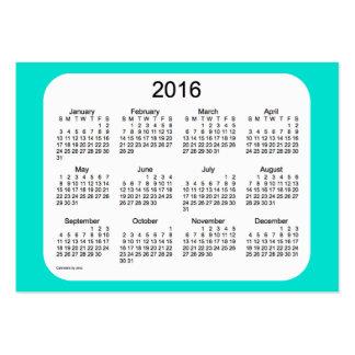 Calendrier 2016 de turquoise par le carte de carte de visite grand format