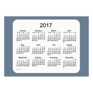 Calendrier de gris d'ardoise 2017 par le carte de carte de visite grand format