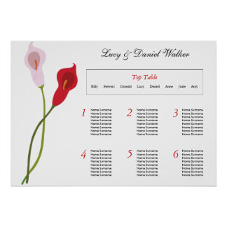 Calla-Lilien-Hochzeits-Sitzplatz-Tabellen-Plan Poster