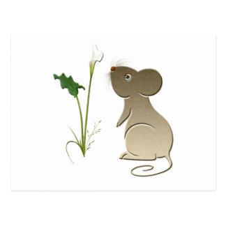 Callalilie und niedliche Maus Postkarte