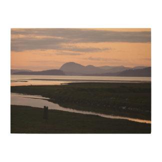 Camano Insel, WA, Sonnenuntergang-an der hölzernen Holzdruck