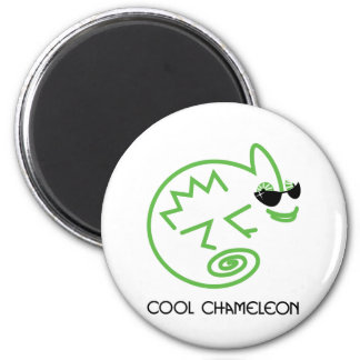 Caméléon vert frais magnet rond 8 cm