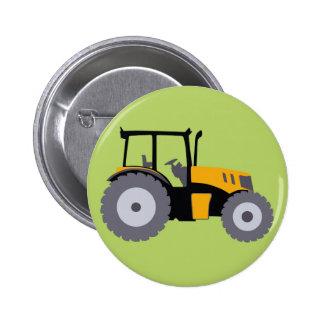 Camion à benne basculante jaune d'illustration de badge rond 5 cm