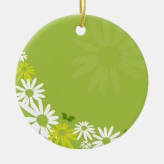 Camomile Flowers Rundes Keramik Ornament