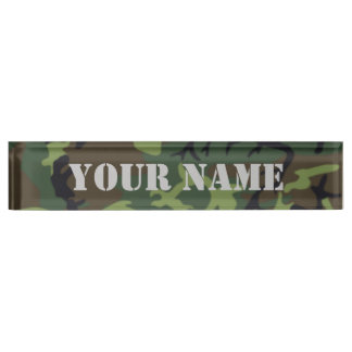 Camouflage - Armee-grünes Ausgaben-Nummernschild Schreibtischplakette