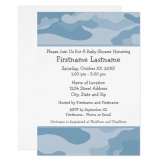 Camouflage-Baby-Dusche oder Party - hellblau 12,7 X 17,8 Cm Einladungskarte