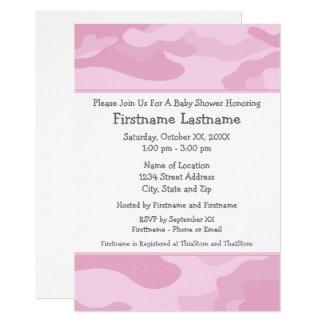 Camouflage-Baby-Dusche oder Party - hellrosa Karte