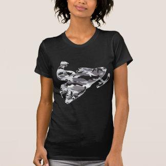 Camouflage-grauer Schlitten auf schwarzer Kopie T-shirts