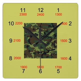 Camouflage-Mittelmilitärzeit-Wand-Uhr Quadratische Wanduhr