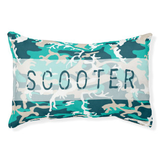 Camouflage-Muster-Name-Aqua-blaue Jagd Haustierbett
