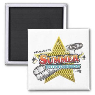 Camp de divertissement d'été magnet carré