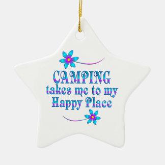 Camping mein glücklicher Platz Keramik Stern-Ornament