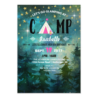 Campings-Nachtzeit-Waldwildnis-Geburtstag Karte