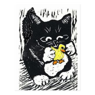 Canard et chaton en caoutchouc, copie de bloc carte postale