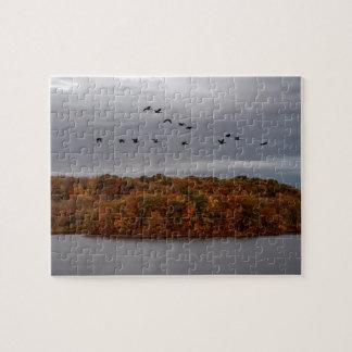 Candain Gänse und das Herbst-Hügel-Puzzlespiel