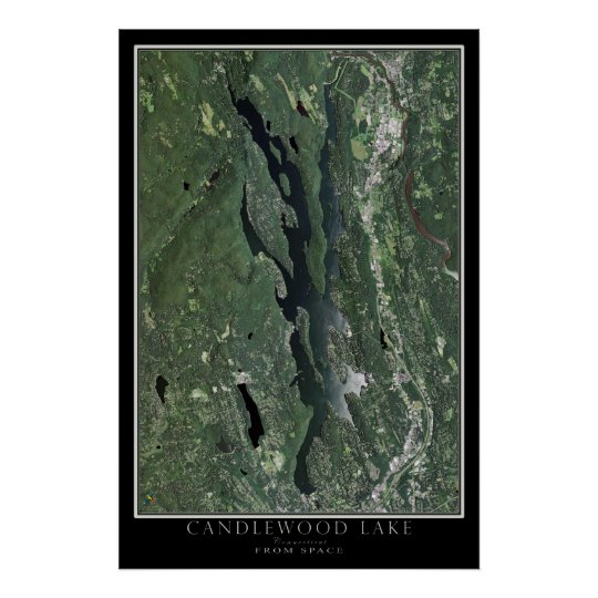 Candlewood See-Connecticut-Satelliten-Karte Poster