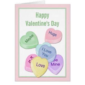Candy Hearts Valentine Grußkarte