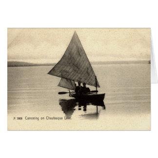 Canoeing auf See Chatauqua New York 1905 Vintag Karte