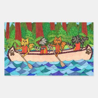 Canoeing Katzen Rechteckiger Aufkleber