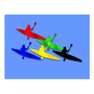 Canoeing Kyaking Kanu kyak Wassersport Postkarte