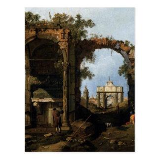 Capriccio mit klassischen Ruinen und Gebäude Postkarte