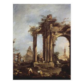 Capriccio mit römischen Ruinen, eine Pyramide und Postkarte