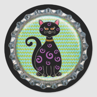 Capsule lunatique de chat de Halloween Sticker Rond