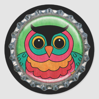 Capsule lunatique de hibou sticker rond