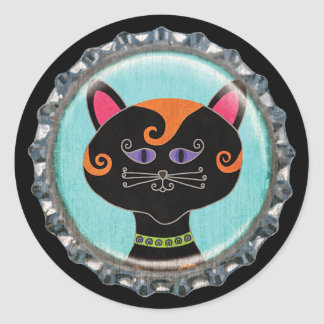 Capsule lunatique de visage de chat de Halloween Sticker Rond