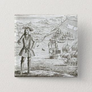 Captain Bartholomew Roberts (1682-1722) mit zwei s Quadratischer Button 5,1 Cm