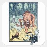 Caractères vintages de magicien d'Oz, route jaune Sticker Carré
