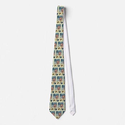 Caractères vintages de magicien d'Oz, route jaune Cravates Personnalisées