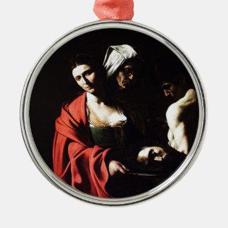 Caravaggio - Salome - klassische barocke Grafik Silbernes Ornament