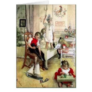 Carl Larsson-Weihnachtsmorgen in Schweden Grußkarte