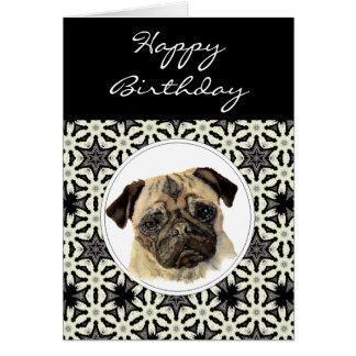 Carlin général d'anniversaire, chien carte de vœux