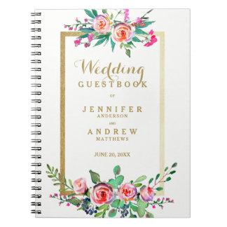 Carnet Guestbook floral de mariage de rose chic élégant