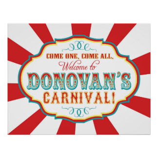Carnival Circus Birthday Banner Donovan CUSTOM Poster