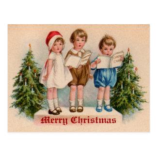 Caroling scherzt viktorianische Vintage Postkarte