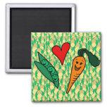 Carottes d'amour de pois, conception verte et oran magnets