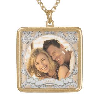 Carré personnalisable Necklace_Medium d'amour Collier Plaqué Or