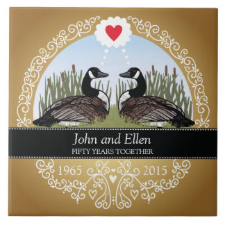 Carreau En Céramique Cinquantième anniversaire de mariage personnalisé,