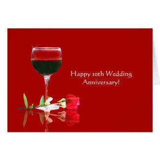 Carte 10ème anniversaire de mariage heureux élégant