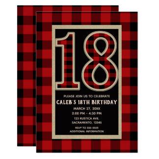 Carte 18ème anniversaire 18 de plaid rouge rustique de
