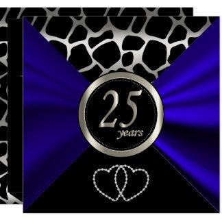 Carte 25ème Motif de girafe de l'anniversaire de noces