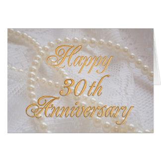 Carte 30ème anniversaire de mariage avec la dentelle et